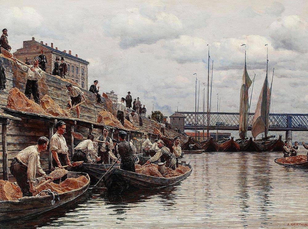 """Aleksander Gierymski, """"Piaskarze"""", olej, płótno, 1871, 50x66 cm, fot. Muzeum Narodowe w Warszawie"""
