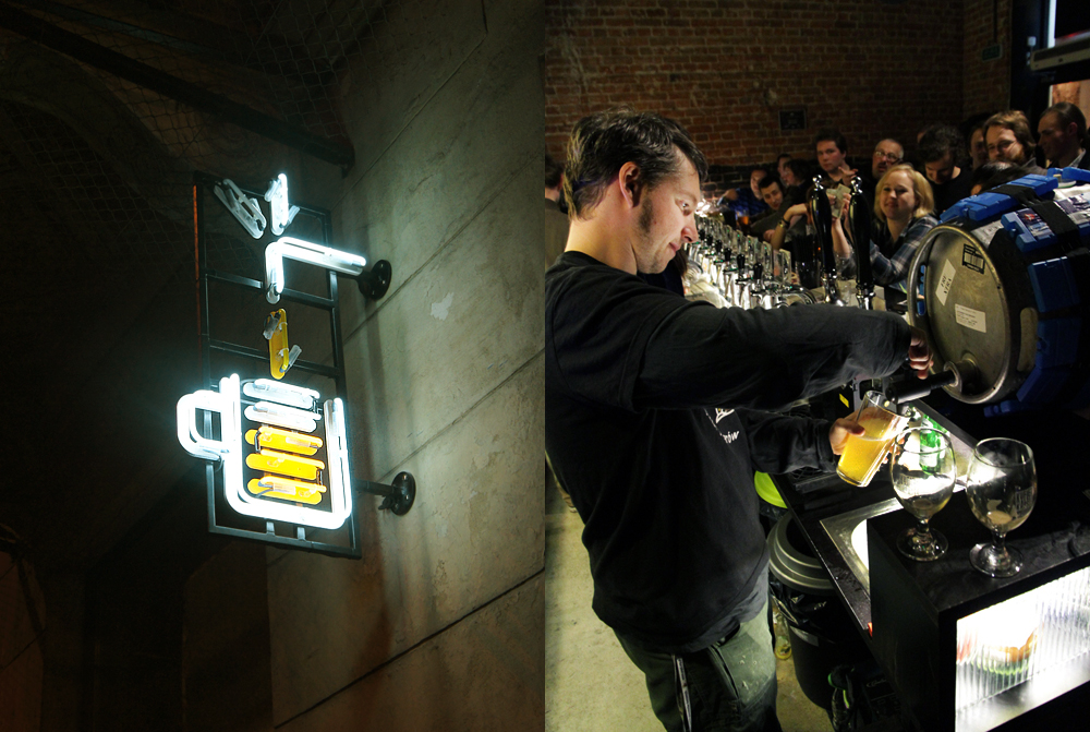 Neon of 'Kufle i kapsle' and our guide Paweł Leszczyński, working behind the bar photo: promo materials