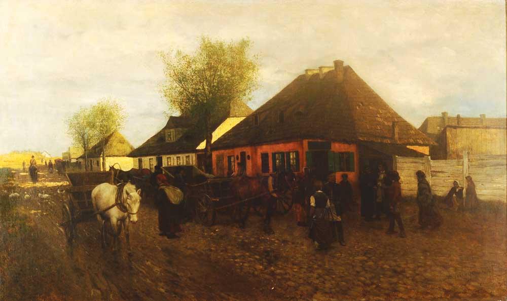 """Maksymilian Gierymski, """"Wiosna w małym miasteczku"""", 1872-1873, wł. Prywatna Państwa Marii i Pawła Dąmbskich"""