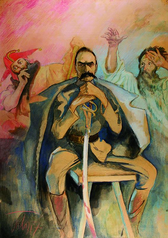Kazimierz Sichulski, Józef Piłsudski with Stańczyk and Wernyhora/Józef Piłsudski ze Stańczykiem i Wernyhorą, Poland, 1917, watercolour, gouache, pastel, coloured pencil, ink, paper, owned by Museum of the Polish Army in Warsaw