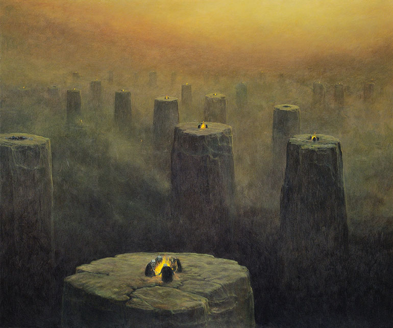 painting by Zdzisław Beksiński, image courtesy of Znak publishing house
