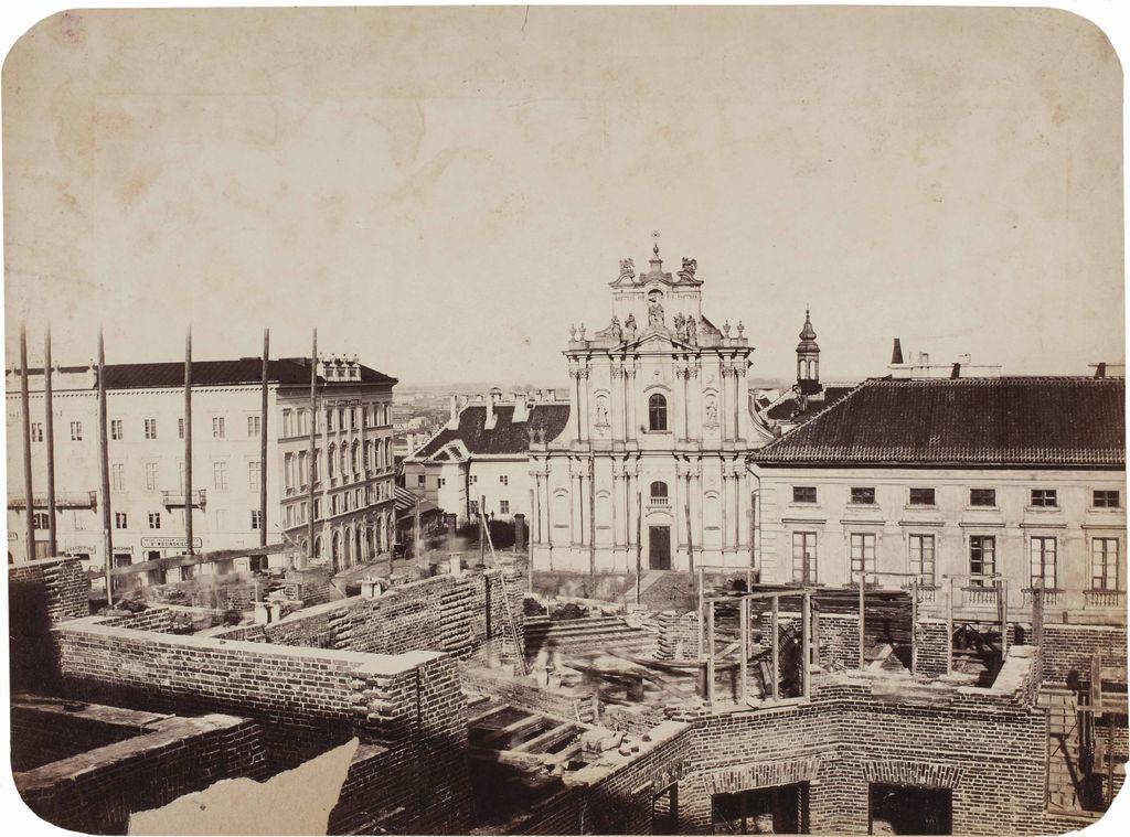 Karol Beyer. Widok z murów kamienicy Beyera, budowanej na rogu Krakowskiego Przedmieścia i Królewskiej, 1863. Muzeum Narodowe w Warszawie