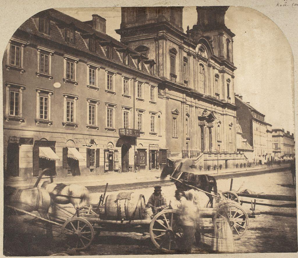 Karol Beyer. Krakowskie Przedmieście z kościołem św. Krzyża, 1858. Muzeum Narodowe w Warszawie