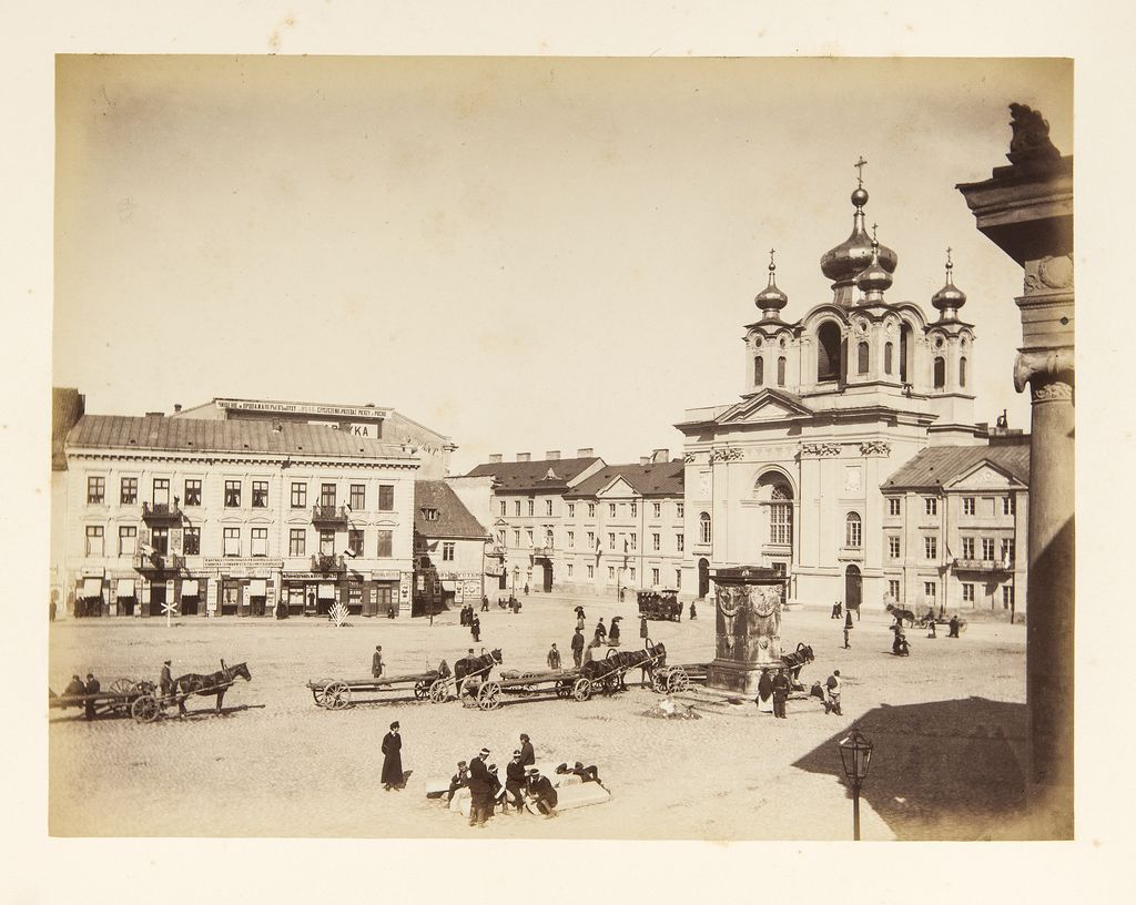 Konrad Brandel. A view from Krasiński Square showing the former Piarist Church and the exit of Długa Street, ca 1885, photo: National Museum of Warsaw