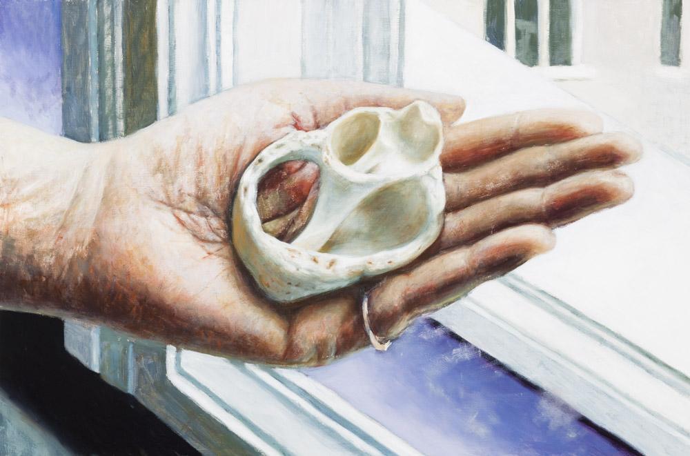"""Antje Majewski, """"Połamana muszla"""" z pracowni Jeanne Mammen, 2013, olej na drewnie, 48,7 x 73,9 cm © Antje Majewski, Pola magnetyczne, fot. dzięki uprzejmości artystki oraz neugerriemschneider, Berlin / WGW"""