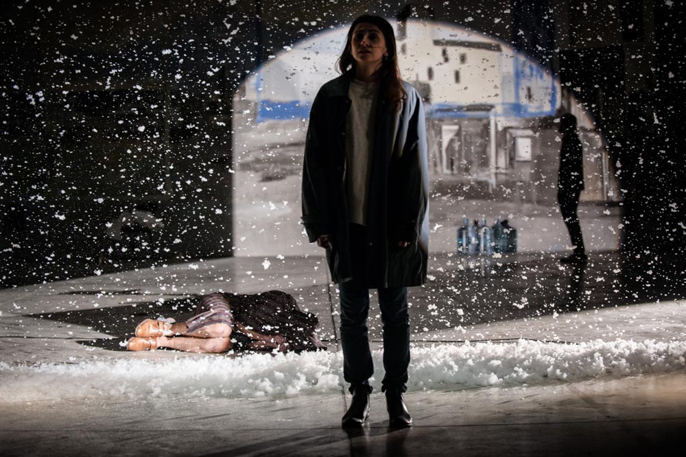 A photograph from the rehearsals of Apocalypse, directed by Michał Borczuch, 2014. In the picture: Marta Ojrzyńska,  photo: Magda Hueckel / Nowy Teatr in Warsaw
