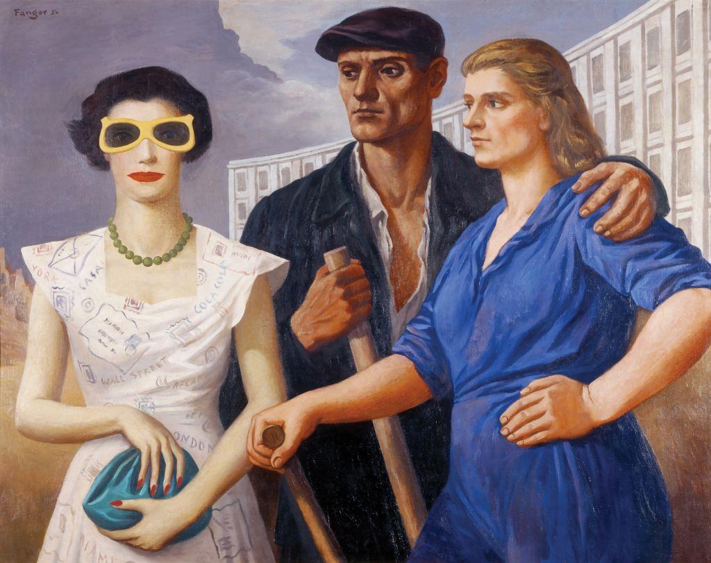 """Wojciech Fangor, """"Postaci"""" 1950, olej na płótnie, 100 x 125 cm, fot. Muzeum Sztuki w Łodzi"""