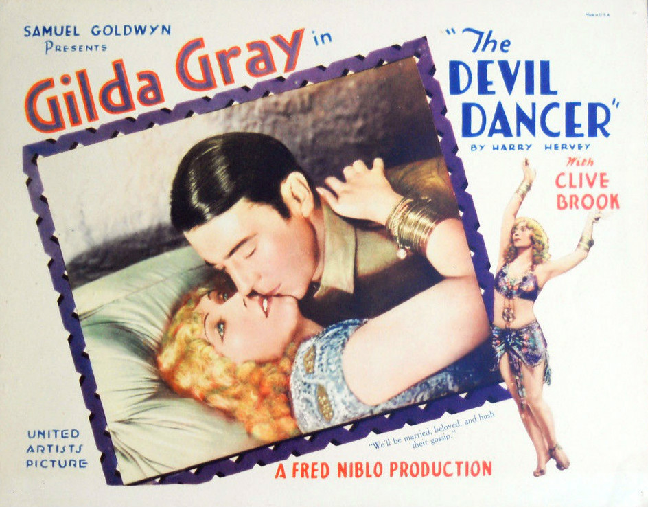 Gilda Grey in The Devil Dancer poster, 1927, directed by Fred Niblo, photo: The Samuel Goldwyn Company