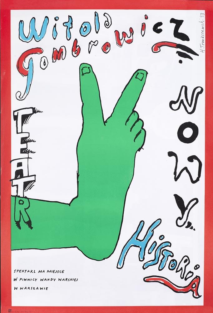 """Henryk TomaszewskiWitold Gombrowicz, """"Historia"""", plakat teatralny, 1983, dzięki uprzejmości Filipa Pągowskiego"""