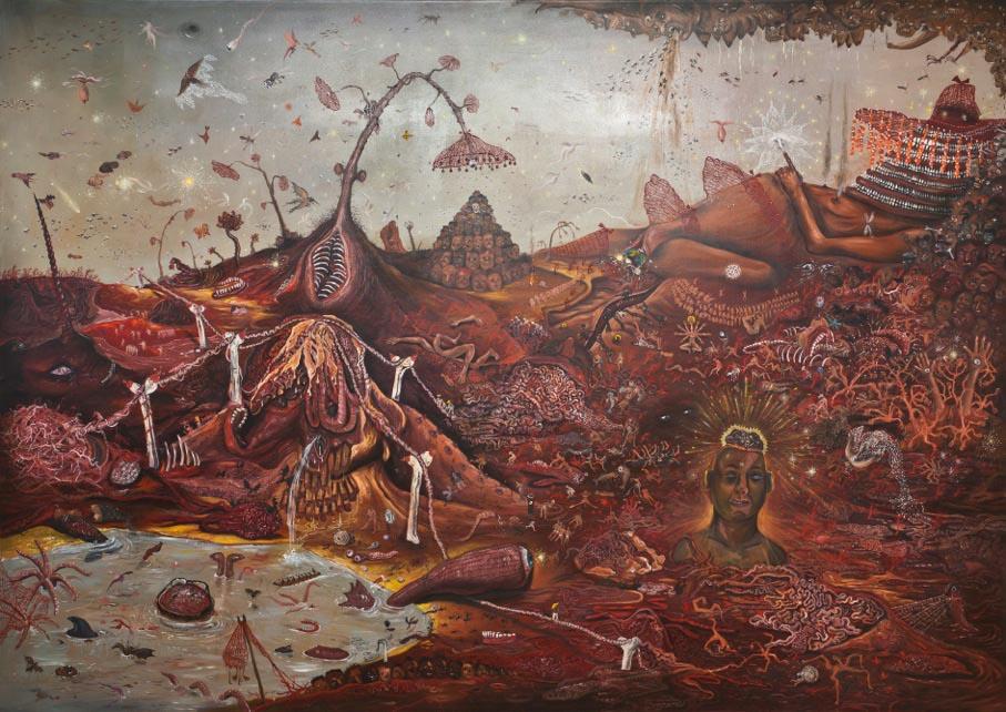 Jakub Julian Ziółkowski, Bestiary, 2013, Oil on canvas, 220 x 310 cm, courtesy of Hauser & Wirth