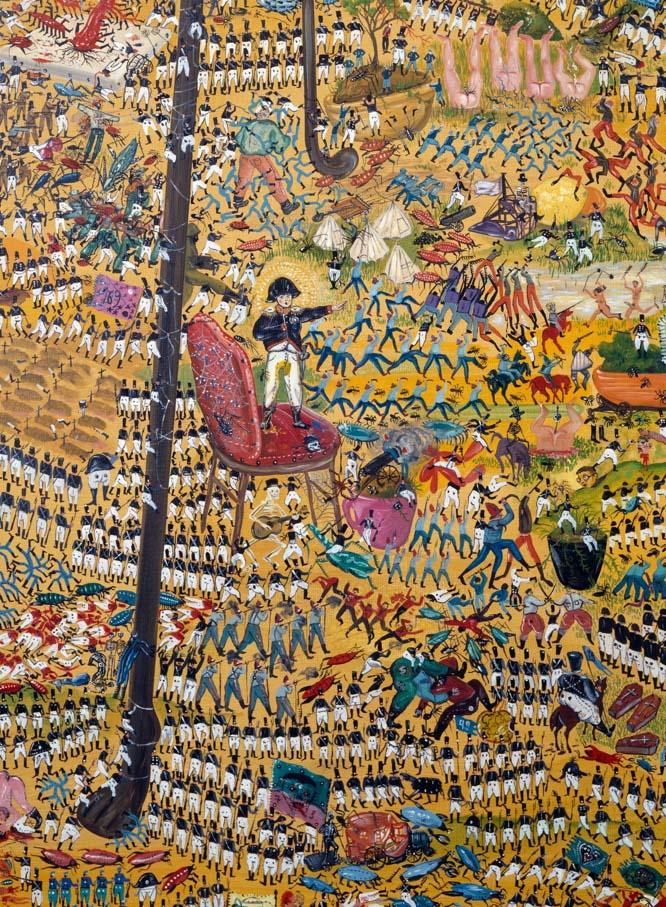 Jakub Julian Ziółkowski, The Great Battle Under the Table - Detail, 2007, Oil on canvas 190 x 165 cm, Zabludowicz Collection, courtesy of Hauser & Wirth