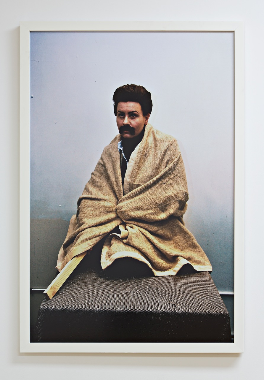 Joanna Malinowska, Self-Portrait as Franz Boas Posing as a Kwakiutl Indian Demonstrating the Draping of a Blanket for the Group Exhibit at the Smithsonian Institution in 1896, 2007, photo: courtesy of the artist