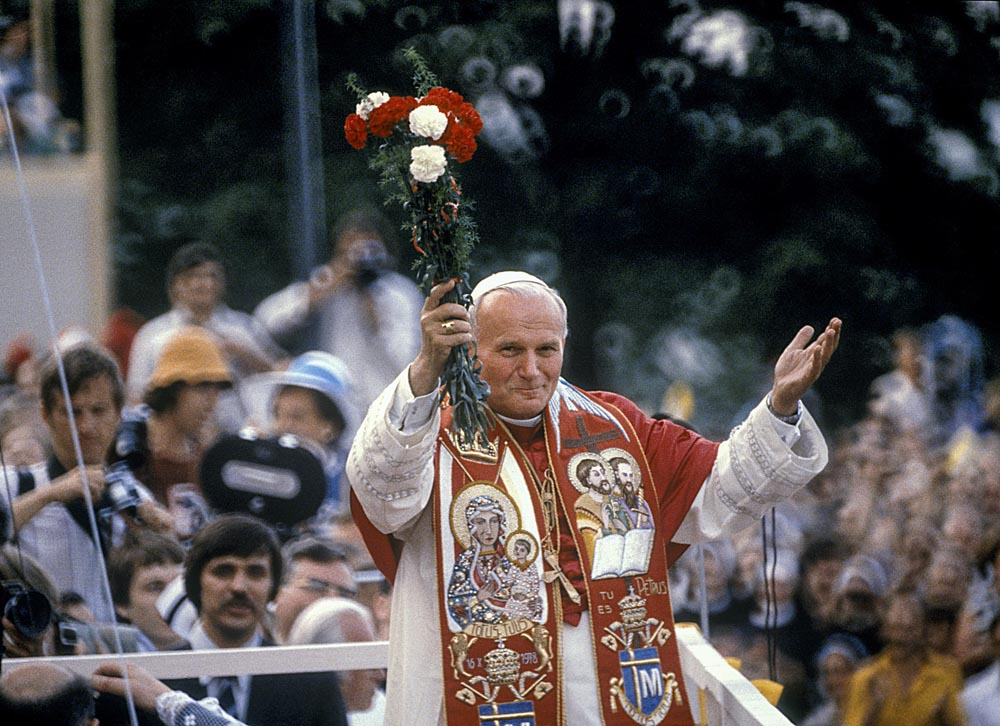 Karol Wojtyła (Jan Paweł II) podczas pierwszej pielgrzymi do Polski, Jasna Góra, 1979, fot. Jan Morek /Forum