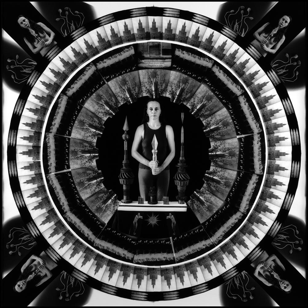 "Zofia Kulik, ""Ja, maki i żart/Zofia Kulik, ""I, poppies and joke"" (from the series Mandala) B&W photography, consisting of repeatedly irradiated prints, 50 x 50 cm, edition: 2/1, 1992, photo by Zofia Kulik, Copywright Zofia Kulik and the National Museum in Gdańsk"