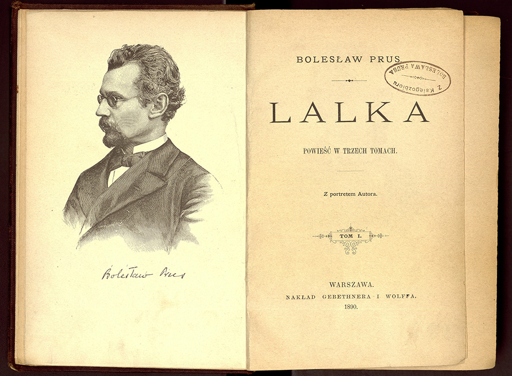 """Strona tytułowa książki """"Lalka"""" Bolesława Prusa, Gebethner i Wolff, 1890, Warszawa, fot. Cyfrowa Biblioteka Narodowa Polona"""