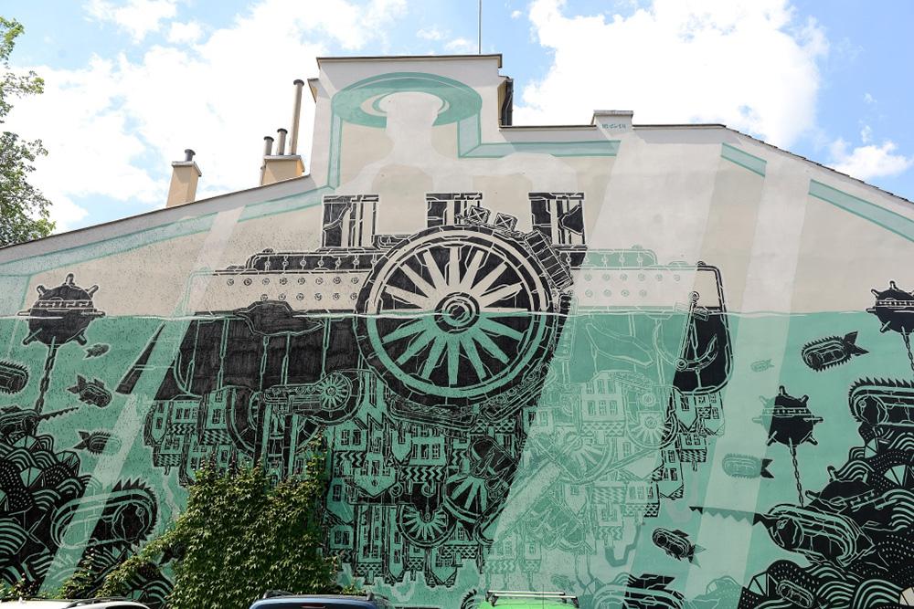 Mariusz M-city Waras, mural, Kraków, fot. dzięki uprzejmości Mall Wall Art