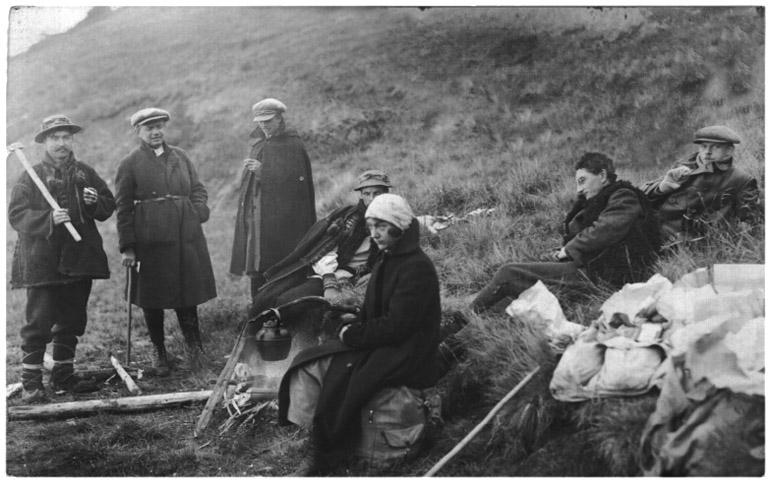 Na zboczach Czarnohory, nz. Stanisław Vincenz, Irena Vincenzowa, i przyjaciele, 1925, fot. Vincenz.pl/Domena publiczna