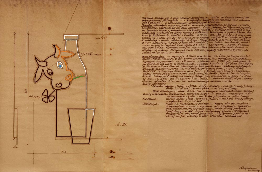 """Drawings and projects of neons from the archives of the advertising company """"Reklama"""", photo. Artists's Archive of the Museum of Modern Art in Warsaw"""
