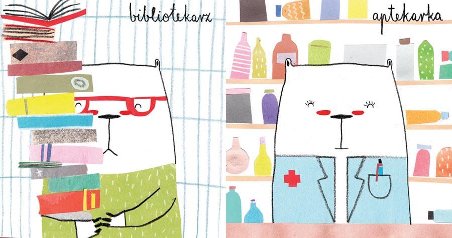 Агата Круляк, обложка книги «Мишки выбирают профессию» («Robimisie»), издательство Dwie Siostry