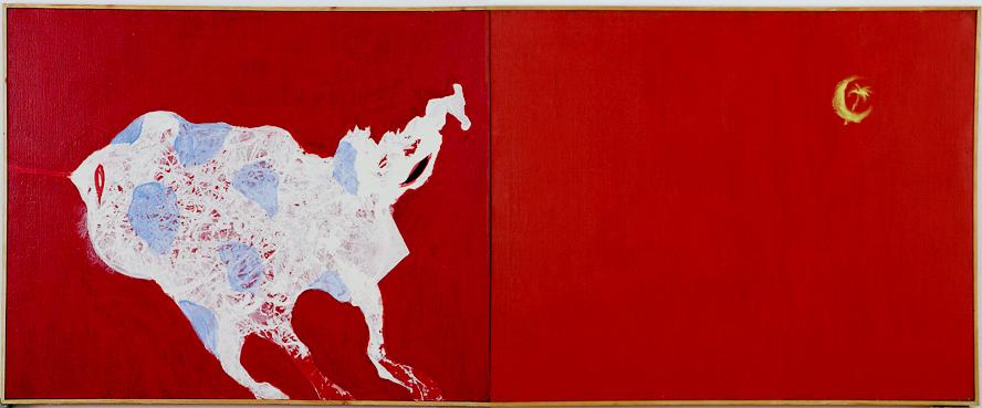 """Ryszard Woźniak, """"Nowa Fala Popierdala"""", 1982, akryl na płótnie, 800 x 200, fot. dzięki uprzejmości artysty"""