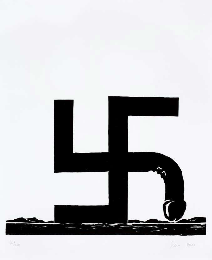 Wilhelm Sasnal, Untitled, linoleum print, 56 cm x 56 cm, 2010; photo courtesy of the exhibition's organisers