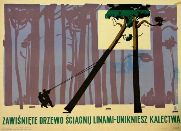 """Waldemar Świerzy, """"BHP Zawistne drzewo"""", źródło: Galeria Plakatu BUW"""