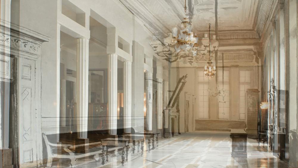 """Kadr z animacji """"Foyer"""", przenikanie się wnętrza współczesnego z dziewiętnastowiecznym, opracowanie: Daria Rzepiela, fot. materiały promocyjne / Teatr Wielki – Opera Narodowa"""