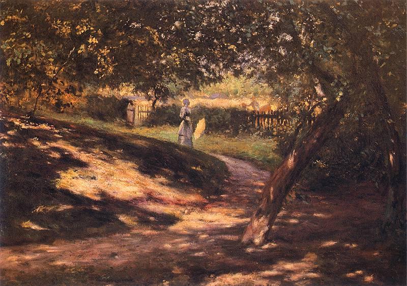 """Władysław Podkowiński, """"W ogrodzie"""", ok. 1892, olej na płótnie, 82,5 x 118,5 cm, w zbiorach Muzeum Śląskiego w Katowicach"""
