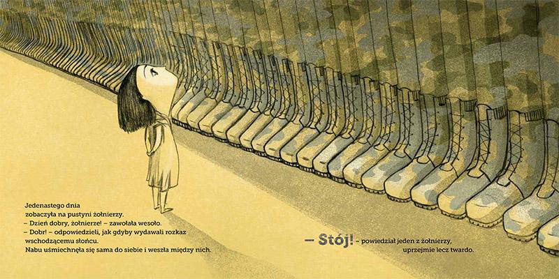Разворот книги «Странствия Набу» («Wędrówka Nabu») Ярослава Миколаевского с иллюстрациями Иоанны Русинек, 2016, фото: издательство Austeria
