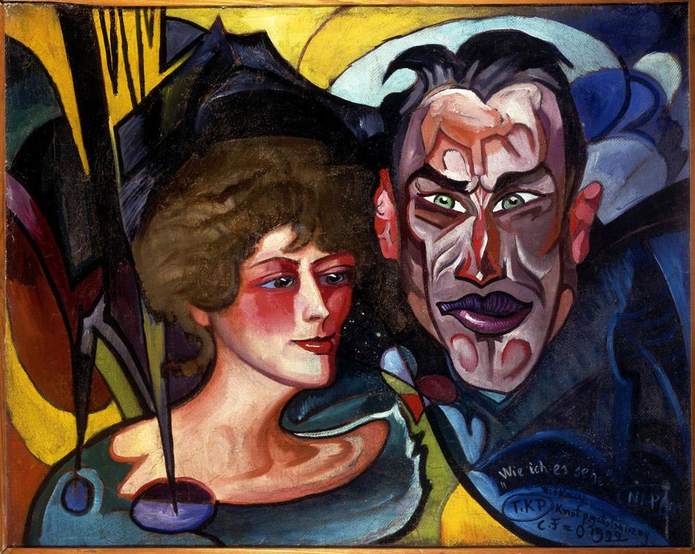 """Stanisław Ignacy Witkiewicz (Witkacy), """"Portret Anny i Jarosława Iwaszkiewiczów"""", 1922, fot. dzięki uprzejmości Muzeum im. Anny i Jarosława Iwaszkiewiczów w Stawisku"""