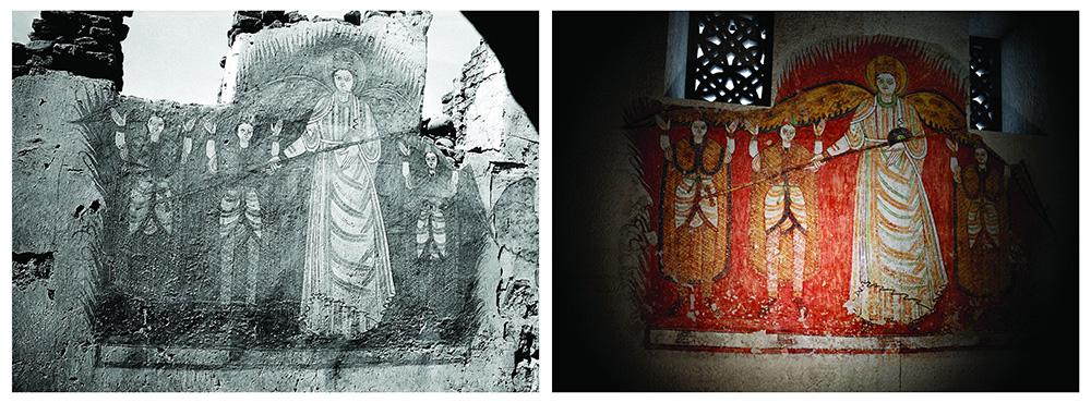 Zdjęcie archiwalne oraz wizualizacja cyfrowej rekonstrukcji Katedry z Faras, fot. materiały promocyjne MNW
