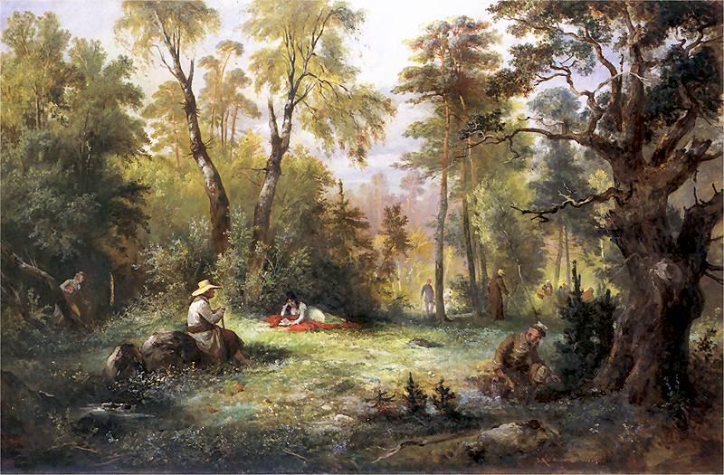 Францишек Костшевский «Сбор грибов», 1860, фото: общественное достояние