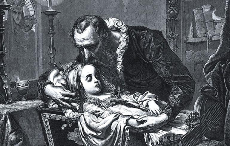 Jan Kochanowski with his daughter Urszulka, drawing by Kazimierz Władysław Wójcicki from Album Jana Matejki, 1876, photo: public domain
