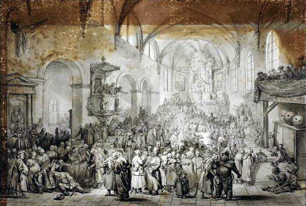 Polish-Latin melange, known as the Macaronic language, was spoken in the political assemblies of the Polish nobility, drawing by J. P. Norblin, photo: Wikimedia Commons