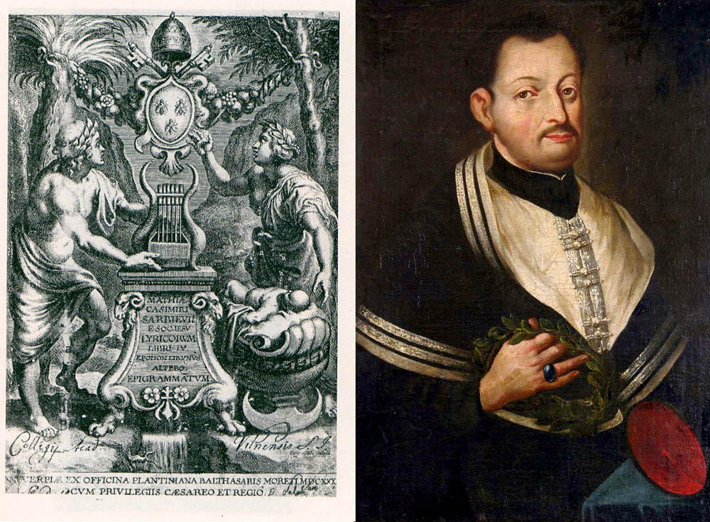 The frontispiece for Sarbiewski's Lyricorum Libri by Rubens, and an anonymous portrait of the poet from the Czartoryski collection, photo: puublic domain / collage: Culture.pl