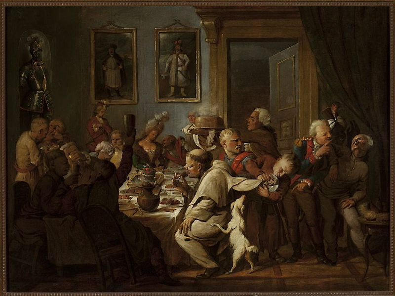 Uczta u Radziwiła or A Feast at Radziwiłł's, oil on canvas painting by Aleksander Orłowski, 1st half of the 19th century, photo: National Museum in Kraków