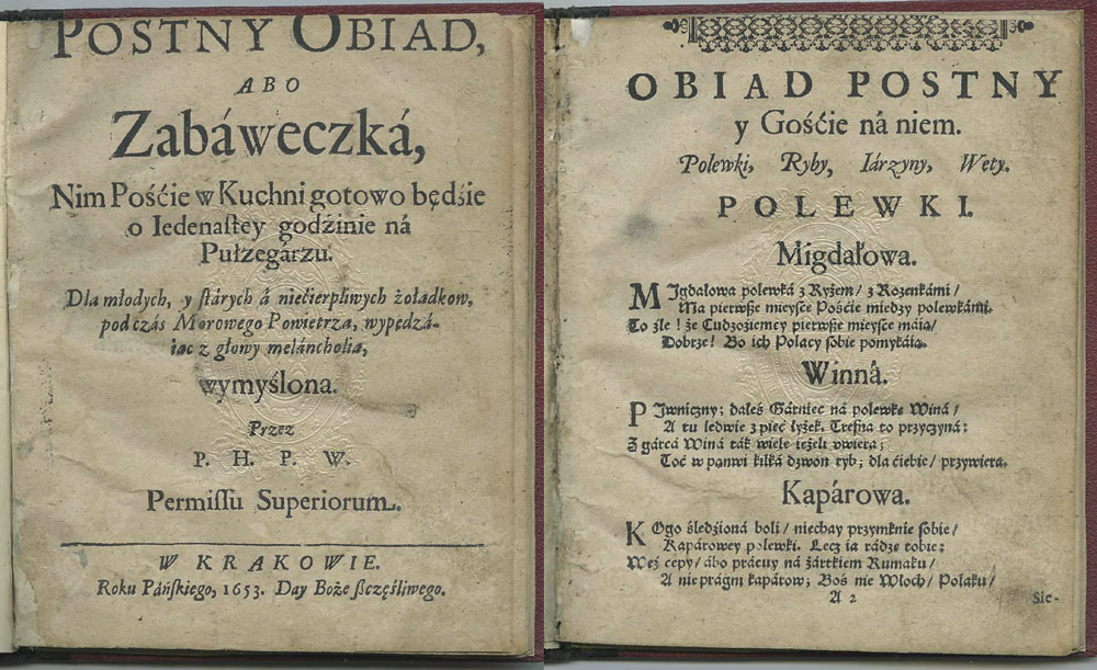 The first pages of Postny obiad albo zabaweczka or Lenten Lunch or a Trifle, published in 1653, photo: Digital Library of Wielkopolska