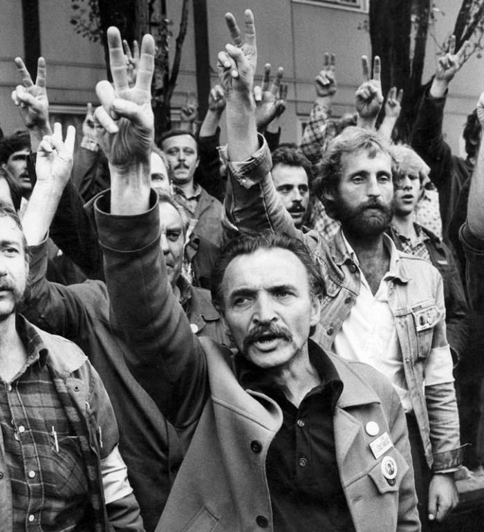 Gdansk Shipyard 1980. Protesting workers, photo: Erazm Ciolek / Forum