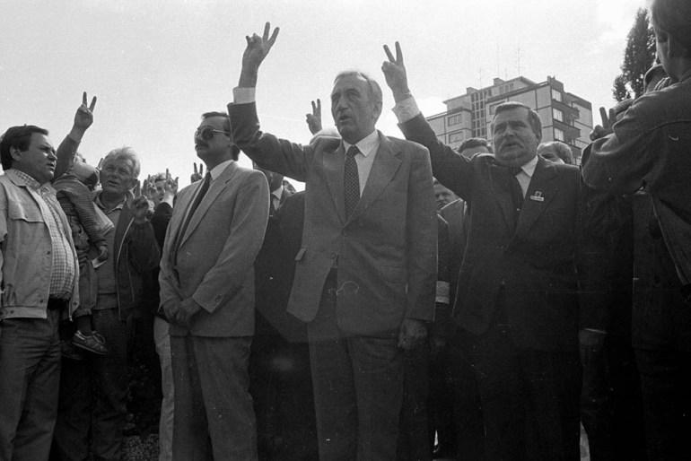 Tadeusz Mazowiecki i Lech Wałęska, 1989, fot. Tomasz Wierzejski / AG