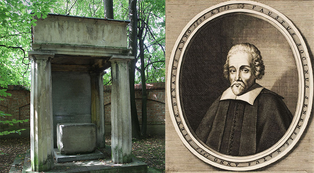 A 19th century manor and a manor park in Lusławice, property of Krzysztof Penderecki. In the photo: tombstone of Faust Socyn, an arian religious reformer, built in the 30s, designed by Adolf Szyszko-Bohusz. The stone between the columns is a remnant of the original Socyn's tombstone, which was vandalised by local catholic zealots. Photo: Grzegorz Kozakiewicz/Forum. Faust Socyn, chalcography, photo: wikimedia.org