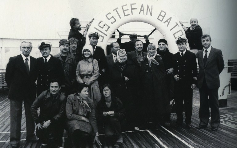 TSS Stefan Batory, crew of Jerzy Kawalerowicz's Chance Meeting on the Atlantic, 1980, photo: Andrzej Reiter's archive
