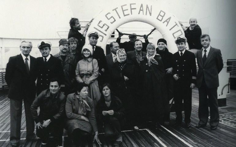TSS Stefan Batory, crew of Jerzy Kawalerowicz's Chance Meeting on the Atlantic, 1980, photo: Andrzej Reiter's archive