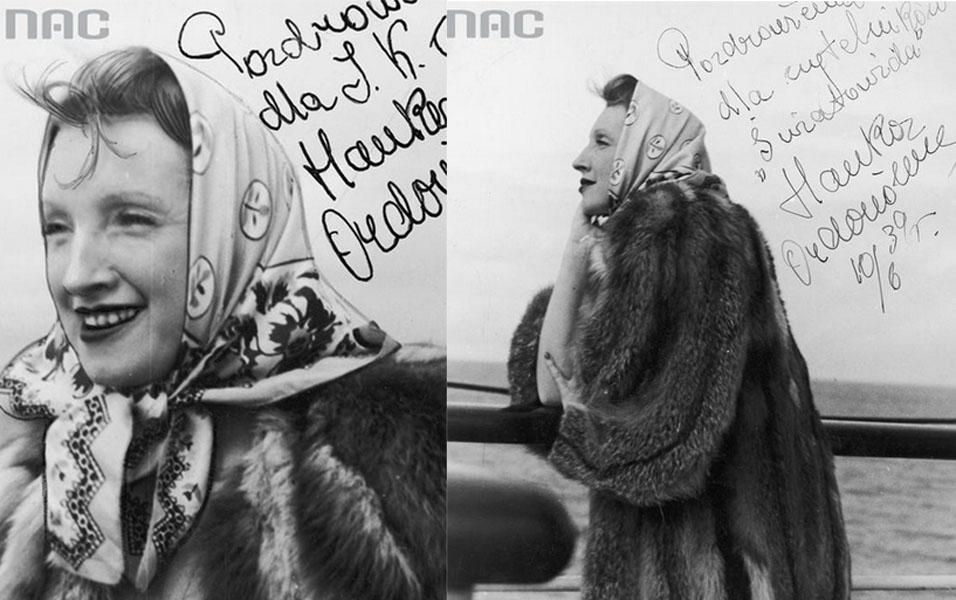 Hanka Ordonówna, singer, dancer, film actress and cabaret star aboard the MS Batory, 1939, photo: Kazimierz Borkowski / MS Batory / www.audiovis.nac.gov.pl (NAC)