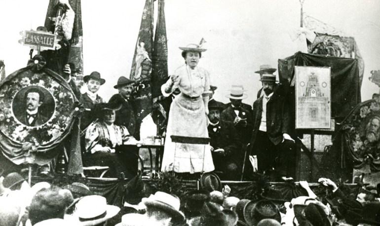 Rosa Luxemburg during a speech in Stuttgart, 1907. Photo: East News