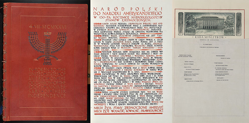Manuscripts Polish Declarations of Admiration and Friendship for the United States: President of the Polish Republic and other officials and representatives of state and municipal institutions, social organizations, and religious bodies; Volume 1, 1926 , PHOTO: Library of Congress