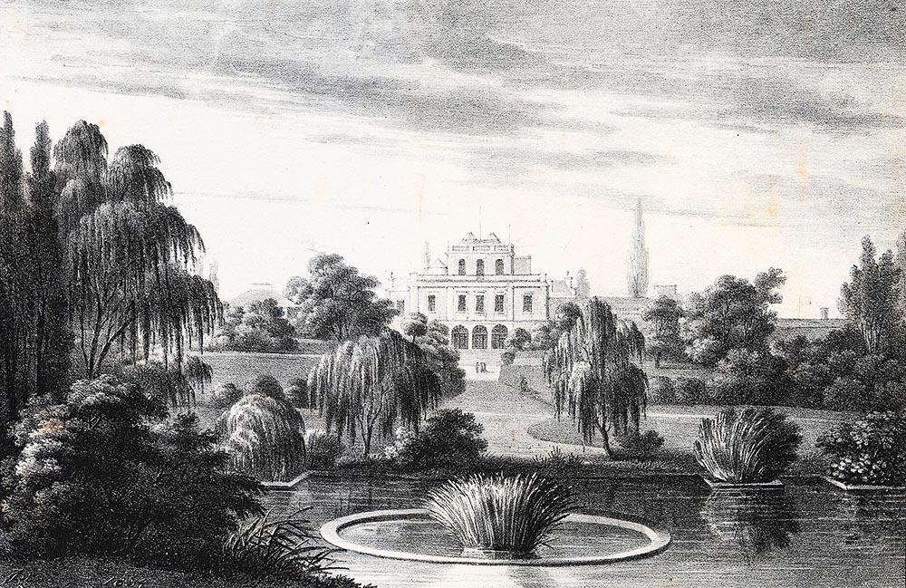 Ogród Botaniczny Uniwersytetu Jagiellońskiego, litografia z roku 1834 autorstwa Jana Feliksa Piwarskiego, fot. Biblioteka Narodowa/ Polona.pl