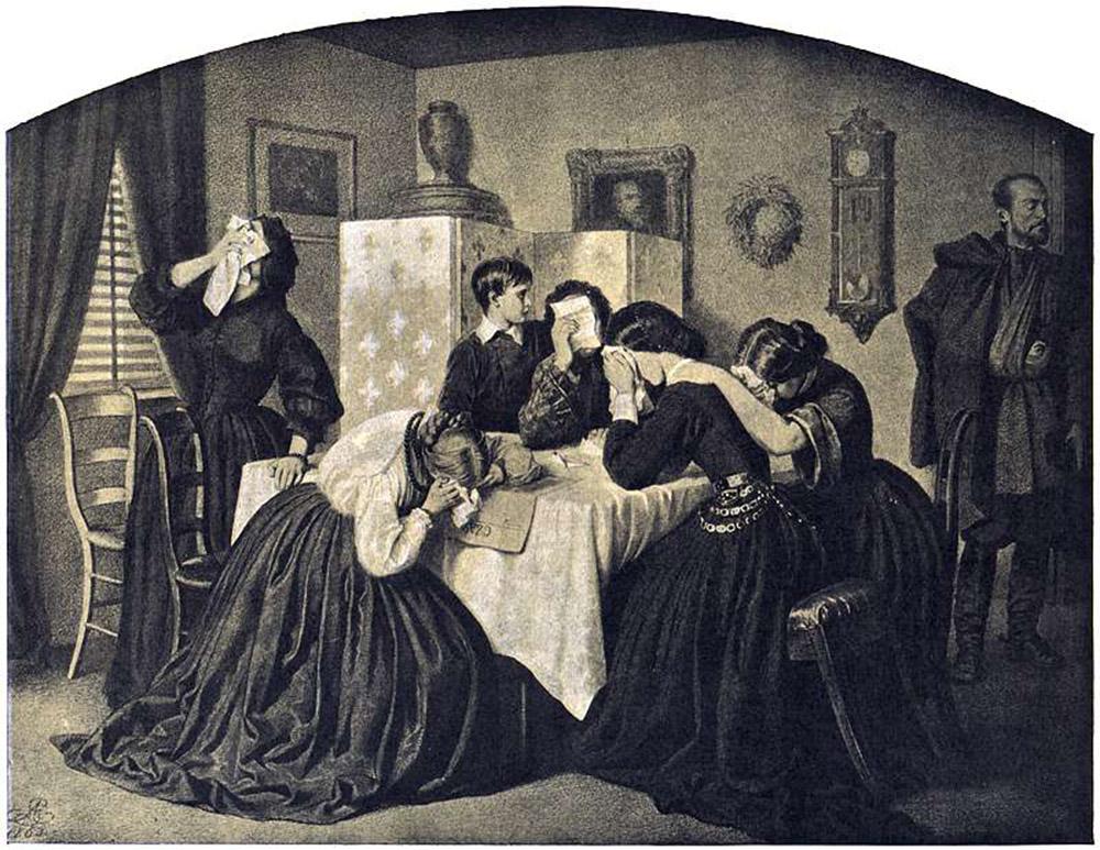 """Artur Grottger, """"VIII. Żałobne wieści"""" z cyklu """"Polonia"""", 1863, fot.  Muzeum Narodowego w Warszawie"""