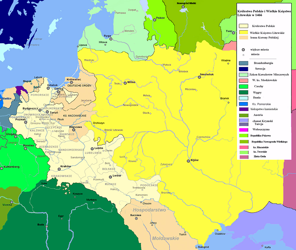 Poland and Lithuania in 1466 with Teutonic Prussia shown as 'Deutsche Orden', photo: wikipedia.org