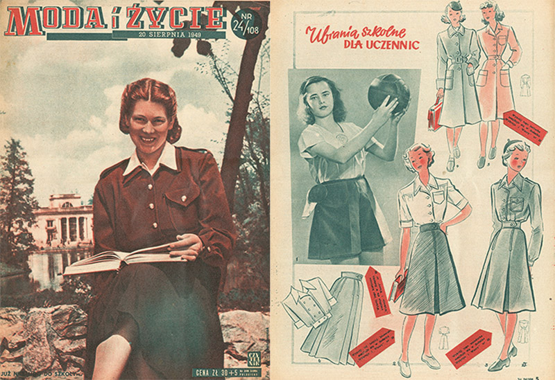 The cover of the weekly Moda i Życie and a spread 'School Clothes for Students' from Moda i Życie, 1949; reproduction: FoKa/Forum