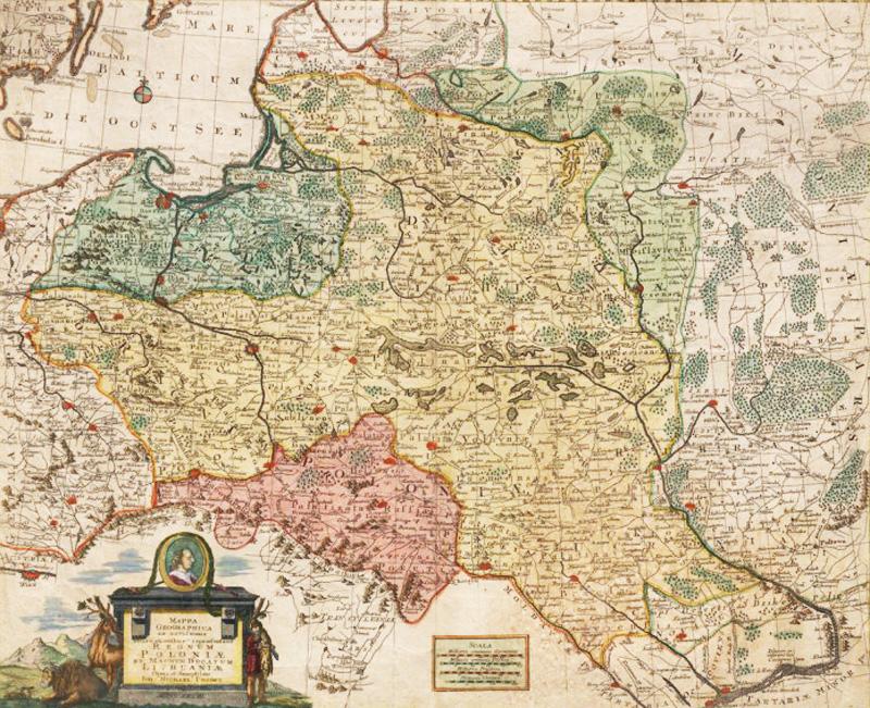 Probst, Johann Michael (1757-1809) Mappa geographica ex novissimis observationibus repraesentans Regnum Poloniae et Magnum Ducatum Lithuaniae; Source: Polona.pl